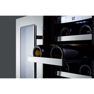 "Classic 24"" 42 Bottle Stainless Steel Frame Glass Door Built-In French Door Dual Zone Wine Chiller,CLFD24WCCSS"