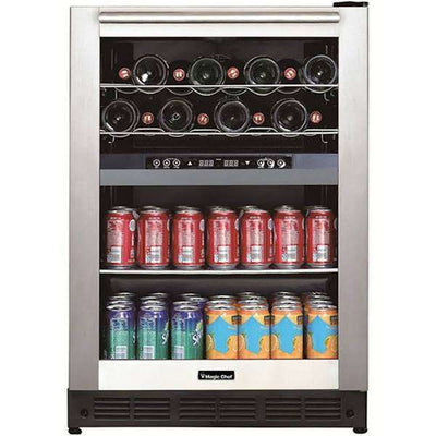 Magic Chef Dual Zone Built-In Wine and Beverage Cooler - BTWB530ST1,BTWB530ST1