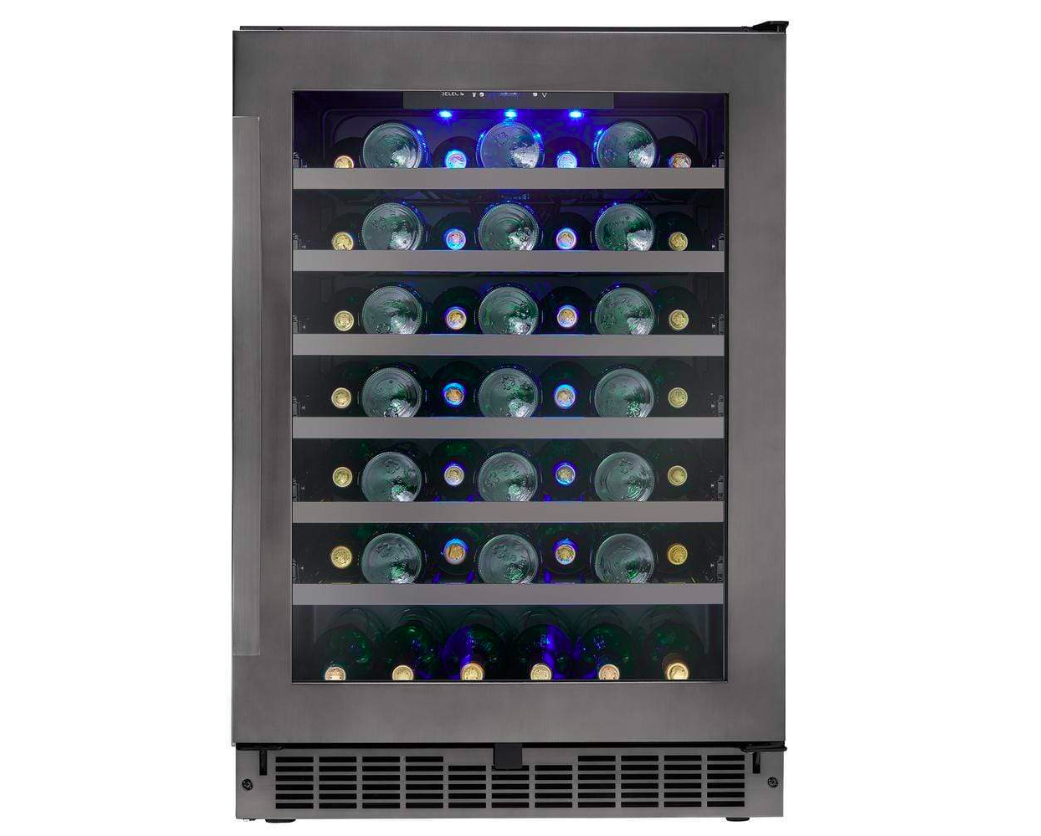 "Silhouette 24"" Wide 48 Bottle Single Zone Black Stainless Steel Wine Refrigerator,SSWC056D1B-S"
