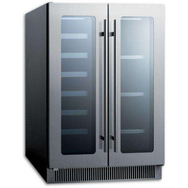 Summit French Door Dual Zone Wine and Beverage Center Built-in or Free Standing CL242WBV,CL242WBV