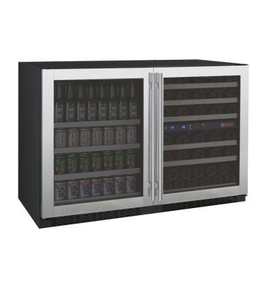 "Allavino 47"" Wide FlexCount II Tru-Vino 56 Bottle/124 Can Stainless Steel Side-by-Side Wine Refrigerator/Beverage Center"