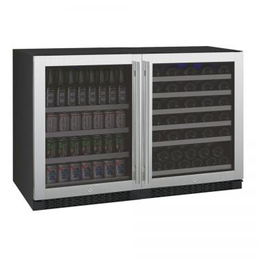 "Allavino 47"" Wide FlexCount II Series 56 Bottle/154 Can Dual Zone Stainless Steel Side-by-Side Wine Refrigerator/Beverage Center"