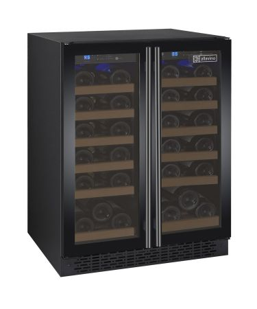 "Allavino 24"" Wide FlexCount II Tru-Vino 36 Bottle Dual Zone Black Wine Refrigerator"