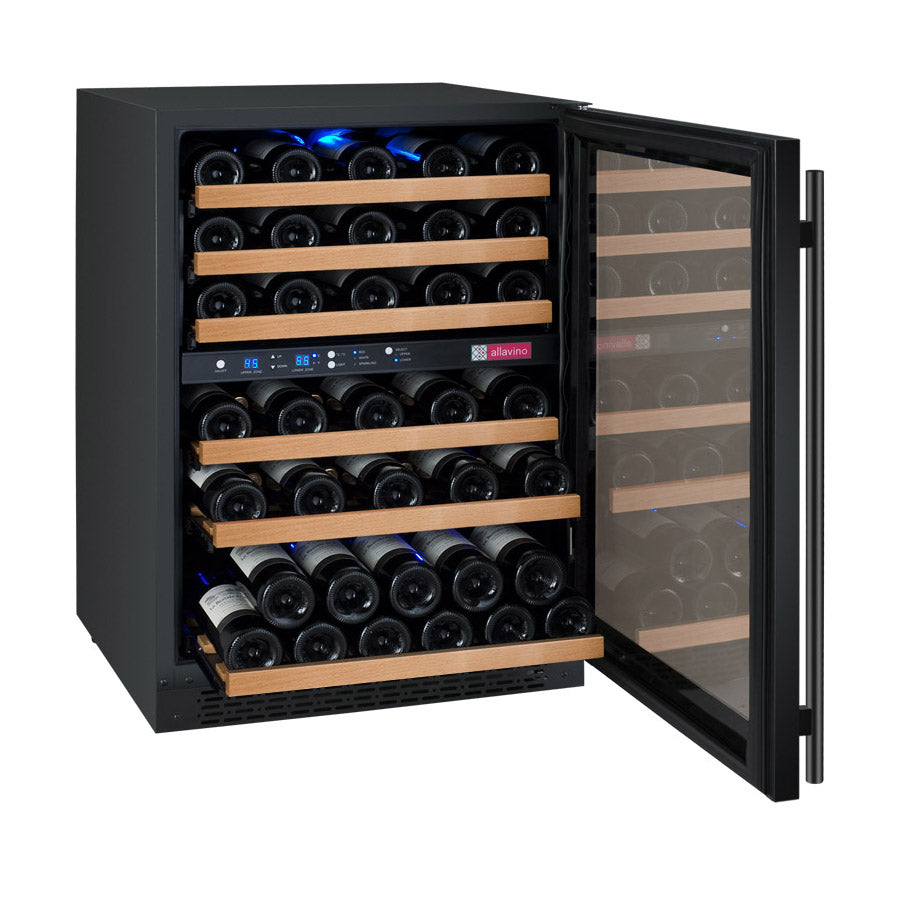 "Allavino 24"" Wide FlexCount II Tru-Vino 56 Bottle Dual Zone Black Wine Refrigerator"
