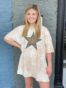 Turquoise Star T-Shirt Dress