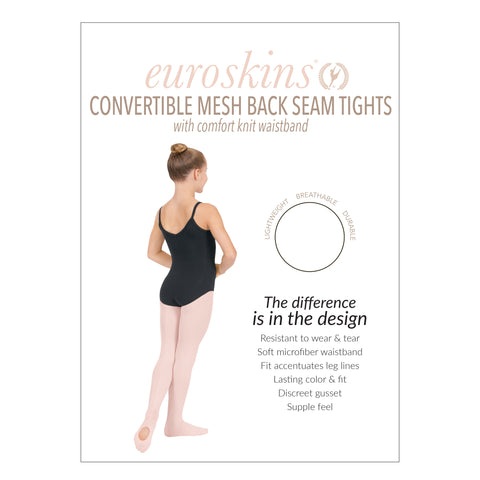 Eurotard 219c Child Professional Mesh Back Seam Convertible Tights by EuroSkins