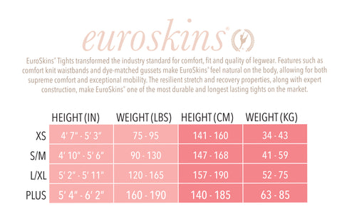 Eurotard 95705 Adult Heavyweight Body Tights Size Guide