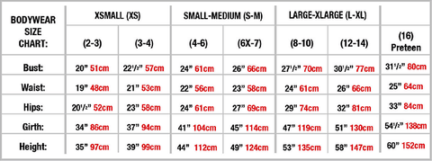 Body Wrappers Size Guide, Girls