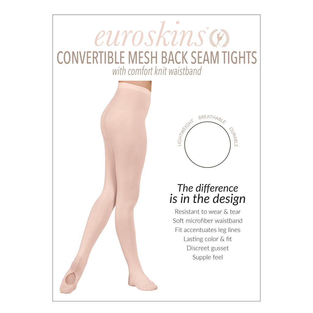 Eurotard 219 Adult Professional Mesh Back Seam Convertible Tights by EuroSkins
