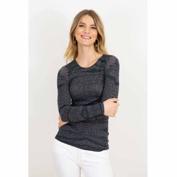 amb 3010-232 spotted crew neck top black pearl