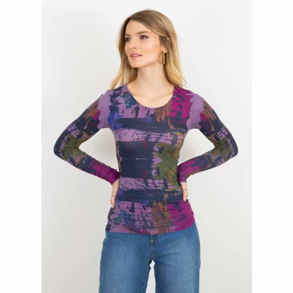 amb 3010-233 brush strokes crew neck neck top aged grape