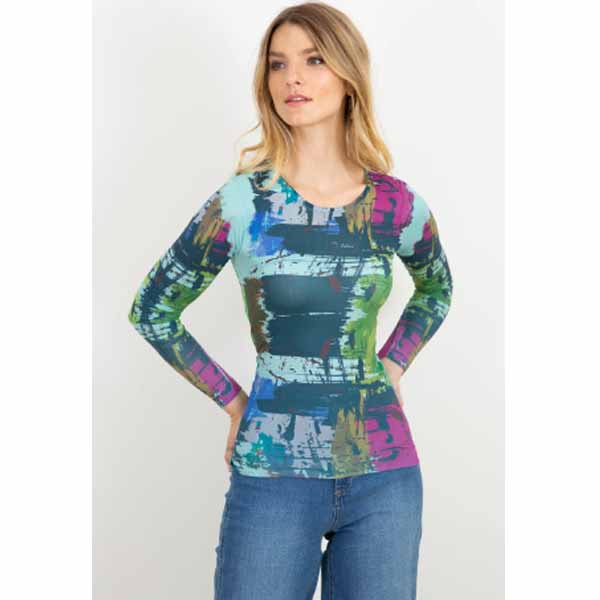 amb 3010-233 brush strokes crew neck neck top aqua haze