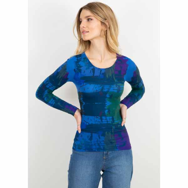 amb 3010-233 brush strokes crew neck neck top regal blue