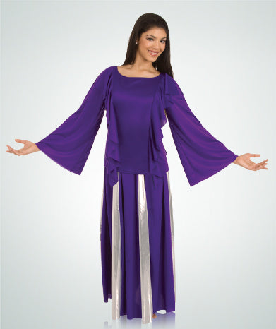 body wrappers 575 womens polyester praise robe purple/gold