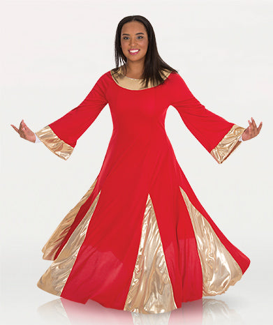 body wrappers 575 womens polyester praise robe red/gold