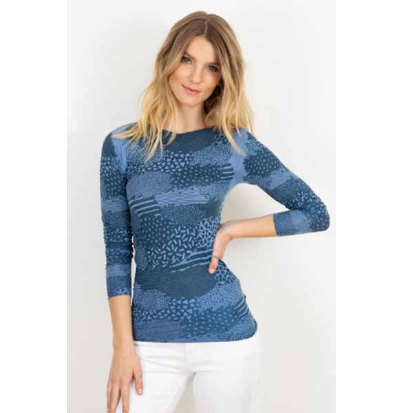amb 6010-230 patchwork raw edge top cashmere blue