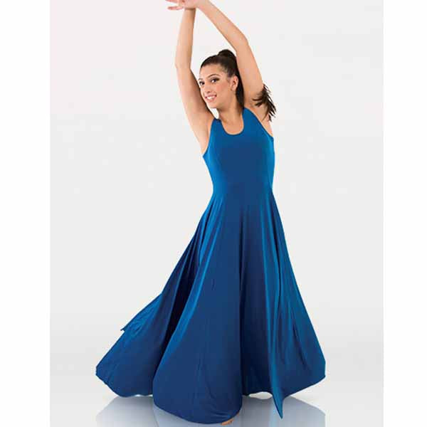 body wrappers 8720 womens and plus butter tank long dress blue