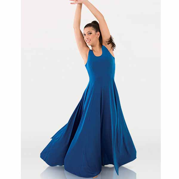 body wrappers 4720 girls butter tank long dress blue