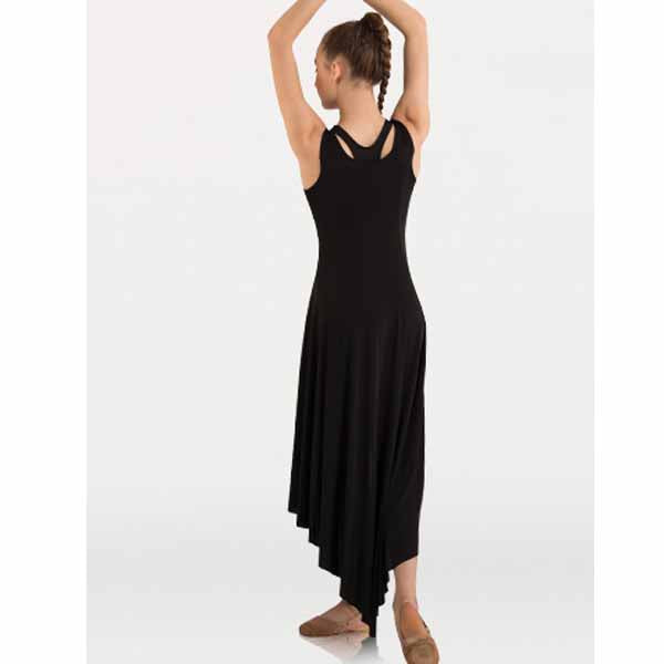 body wrappers 8721 womens butter hi-lo long dress back