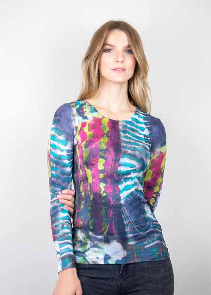 amb designs 3010-321a origins crew neck second skin top bright color