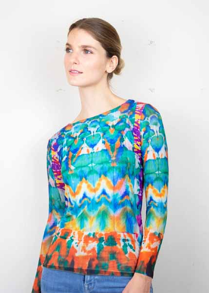 amb design flor260 batik collage - florence double sheer top