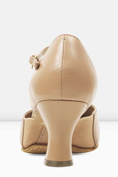 Bloch S0390L Ladies Splitflex T-Strap 2.5 Inch Heel Character Shoes tan color back side