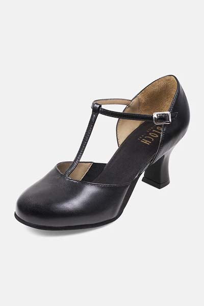 Bloch S0390L Ladies Splitflex T-Strap 2.5 Inch Heel Character Shoes black color top side