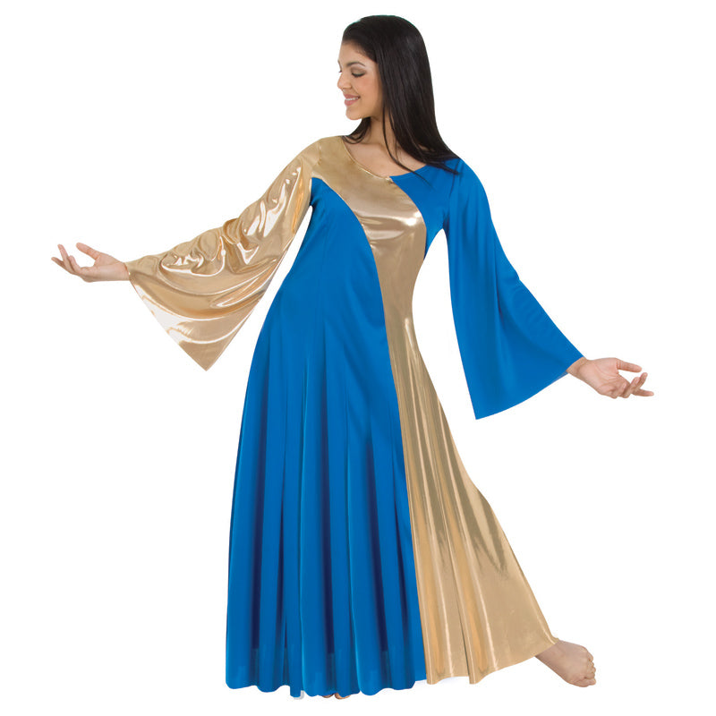 body wrappers 592 girls asymmetrical bell sleeve dress royal/gold