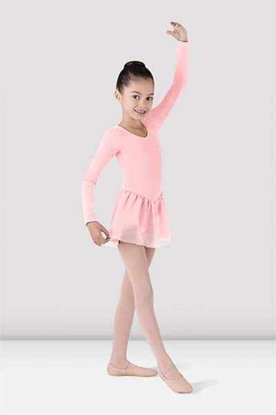 Bloch CL5309 Childrens Petal Long Sleeve Leotard with Chiffon Skirt