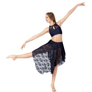 body wrappers lc9113 womens convertible high-low lace dance skirt black
