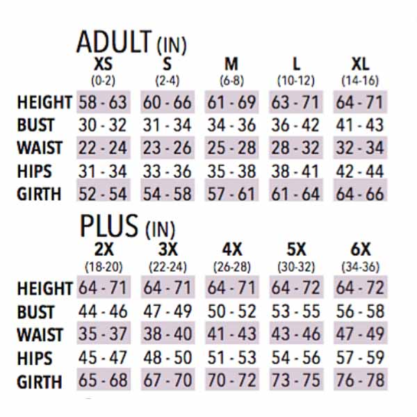eurotard 13673 womens humble servant peasant top adult sizing chart
