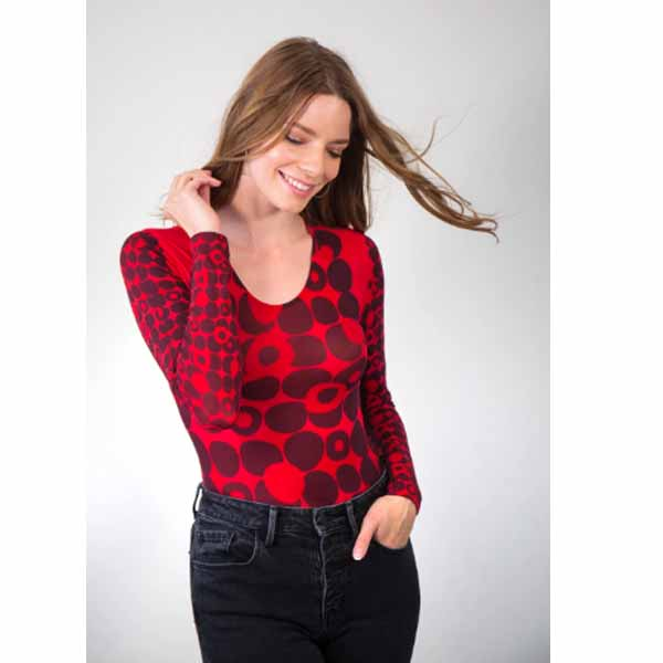 amb desings 3010-166a mod dots red crew neck top true red