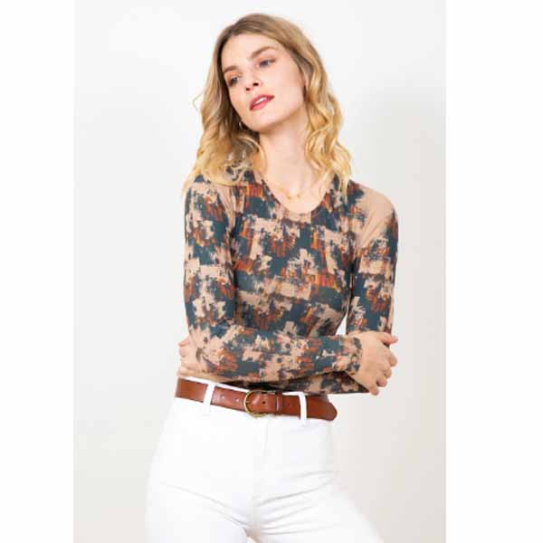amb designs 3010-191 autumn grunge crew neck top nude