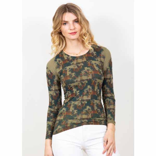 amb designs 3010-191 autumn grunge crew neck top olive