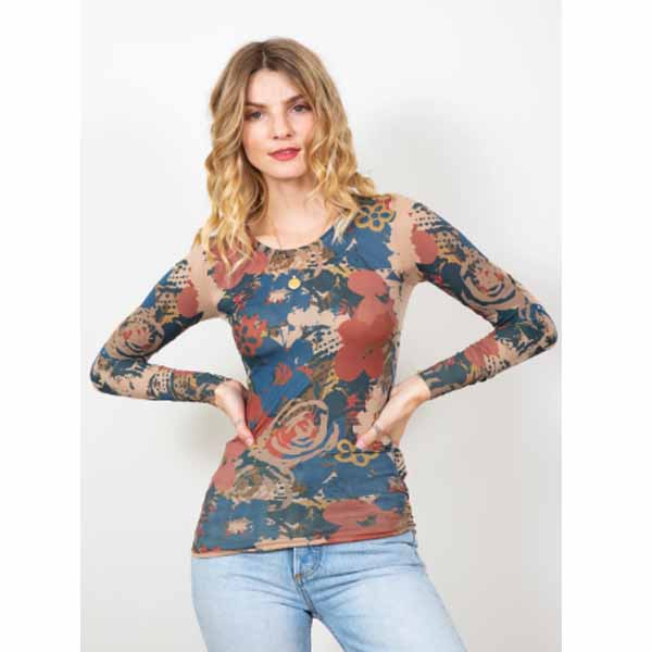 amb designs 3010-193 retro floral crew neck top nude