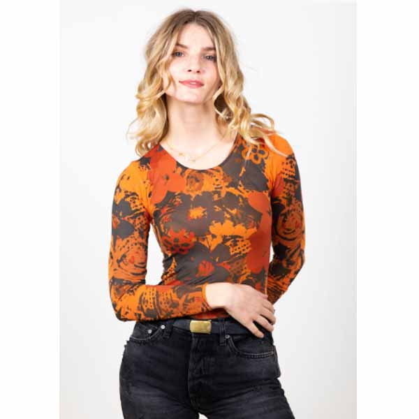 amb designs 3010-193 retro floral crew neck top spiced carrot