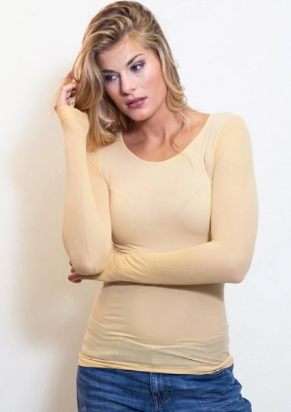 AMB 3010 Sheer Long Sleeve Warm-Up Top Butterscotch