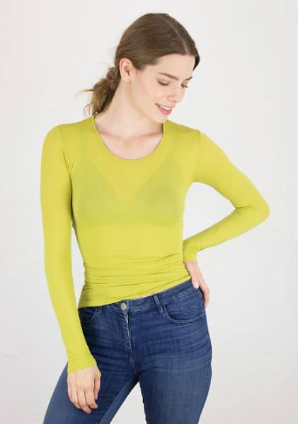 AMB 3010 Sheer Long Sleeve Warm-Up Top Golden Lime