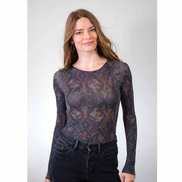 amb 6010-165 geo animal raw edge top black pearl