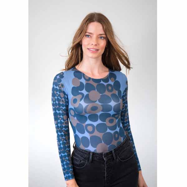 amb designs 6010-166b mod dots nude raw edge top cashmere blue