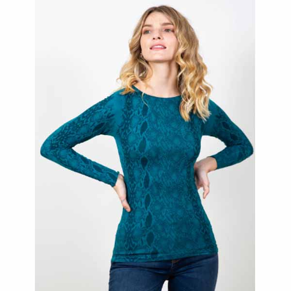 amb designs 6010-190 snake skin raw edge top shaded teal