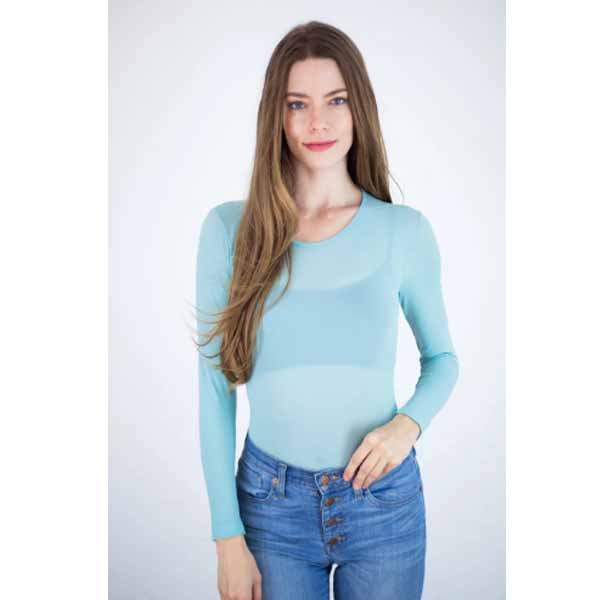 amb designs 3010 sheer long sleeve warm-up top aqua haze