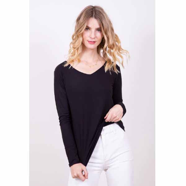 amb designs kate00 long sleeve v neck top black