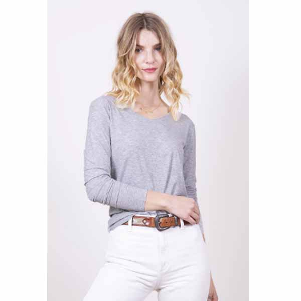 amb designs kate00 long sleeve v neck top feather gray