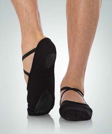 body wrappers 246 womens/mens angelo luzio stretch canvas ballet slipper black