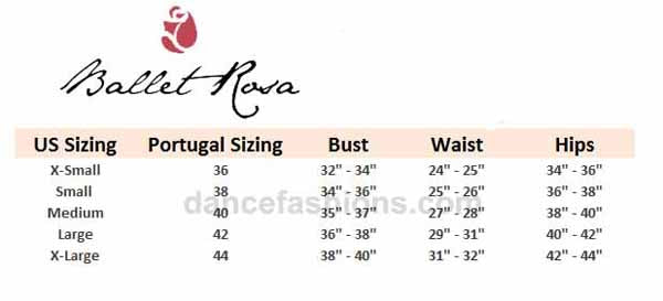 ballet rosa novella fashion leotard sizing chart