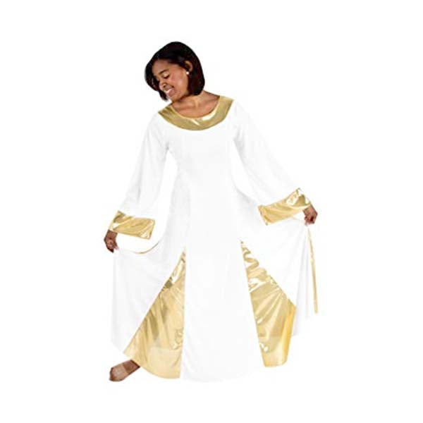 body wrappers 575 womens polyester praise robe white/gold