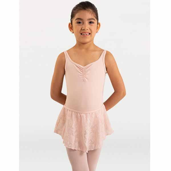body wrappers 2190 girls mesh flowers solid microtech camisole leotard front