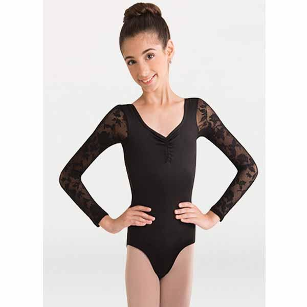 body wrappers 2191 girls mesh flowers solid matte nylon leotard black