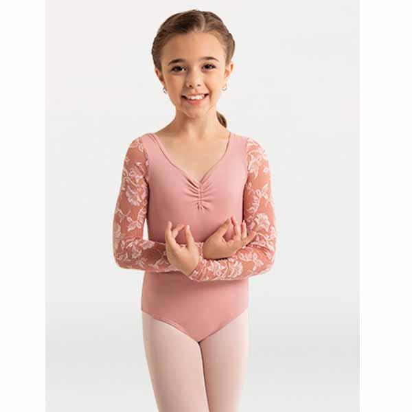 body wrappers 2191 girls mesh flowers solid matte nylon leotard rose front